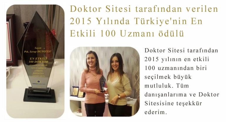 Doktor Sitesi tarafından verilen 2015 Yılında Türkiye'nin En Etkili 100 Uzmanı ödülü
