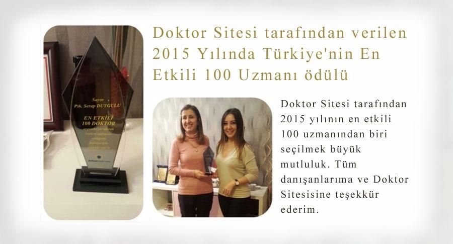 Türkiye'nin En Etkili 100 Uzmanı Ödülü